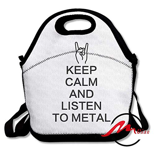 ASFFEE Keep Calm and Listen to Metal Lunch Tote Insulated Reusable Picnic Bags Boxes Men Women Youth Teens Nurses Travel Bag -