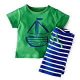 CHIC-CHIC 2PC Bébés Garçons Ensemble T-shirt /Haut + Shorts Rayures Baptême Chemise Tee Pantalons Courts Mignon (18-24Mois, Vert)
