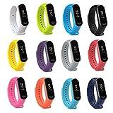 Fit-power Ersatz-Armband für Xiaomi Mi Band,Smart-Watch-Armband (nicht für MI Band 2/1S), 3 Stück, Miband3-Pack of 12