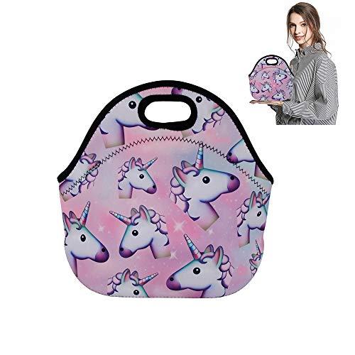 Lunch-Taschen für Frauen und Herren mit Einhorn-Motiv Flamingo Emoji Lunch-Tasche, Neopren, isoliert, Bento, niedlich, Pink, mit Reißverschluss, große wiederverwendbare Picknick-Dosen 2