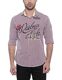 SHOWOFF Mens Red Checkered Casual Shirt