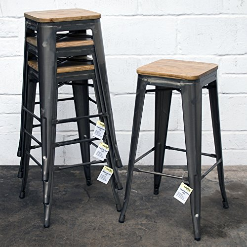Marko Furniture Set of 4 Steel Metal Industrial Bar Stool Breakfast Kitchen Bistro Cafe Vintage