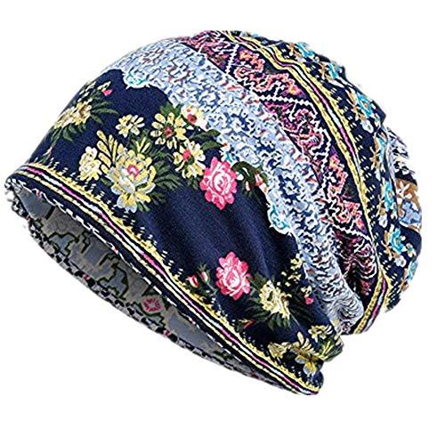 iHENGH Bequem Lässig Mode Unisex Print Hut Ruffle Cancer Hat Mütze Schal Kragen Turban Head Wrap Cap - Black Watch Flanell