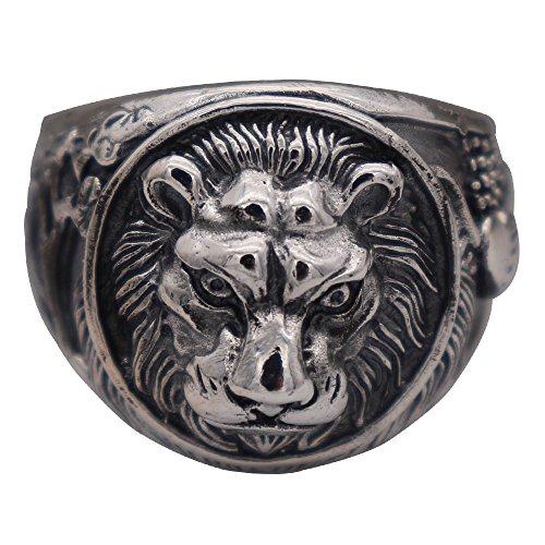 FORFOX Herren Damen Vintage 925 Sterling Silber Irischer Claddagh Löwenkopf Ring Löwen Schmuck Größe 65