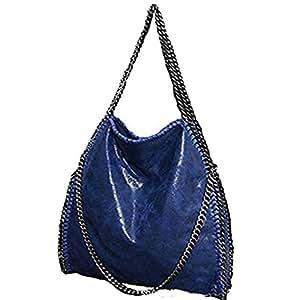 Hosiare 1X Le donne annata della borsa del cuoio del sacchetto di spalla del Tote della cartella,blu