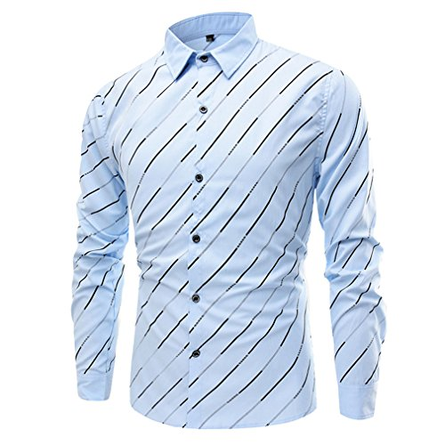 Honghu Strisce Manica Lunga Colletto Ampio Vestito Camicia Uomo Azzurro