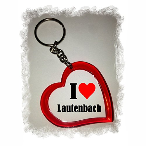 Druckerlebnis24 Herzschlüsselanhänger I Love Lautenbach, eine tolle Geschenkidee die von Herzen kommt  Geschenktipp: Weihnachten Jahrestag Geburtstag Lieblingsmensch