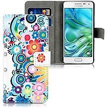kwmobile Funda para Samsung Galaxy Alpha - Wallet Case plegable de cuero sintético - Cover con tapa tarjetero y soporte Diseño hippie en multicolor azul blanco
