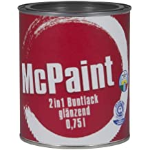 McPaint 2-in-1: primer and paint, for indoor and outdoor use, for furniture and toys, reinforced polyurethane paint, gloss finish, RAL 7016 anthracite, 0.75 l
