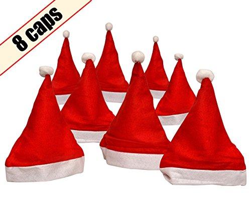 TIED RIBBONS Christmas, Santa Claus Caps for Kids and Adults (Free Size) -8 Pieces