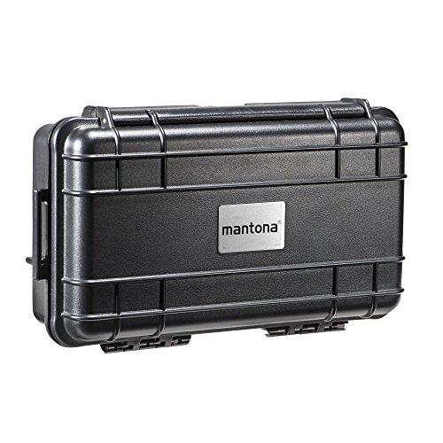 Mantona Outdoor Foto Koffer (Session Actioncam/Foto-Equipment, Größe XS, wasserdicht, stoßfest, staubdicht, geeignet für DSLR Kamera/GoPro Hero) schwarz
