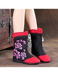 &HZOU Nuevo otoño/invierno/moda/moda nieve Botas/goma/suave/bordado zapatos/botas/nacionalidad al final del viento , black , 36