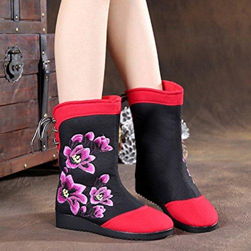 &qq Nuovo autunno/inverno / / moda/moda neve stivali/gomma/soft/ricamato scarpe/stivali/nazionalità alla fine del vento Black