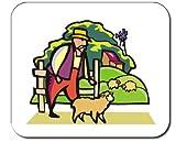 Mauspad mit der Grafik: Körper, Vergangenheit, Leute, Individuums, Personen, klein, Person, Menschen, Viehbestand, aus, Jagd, Einzelpersonen, Landwirtschaft, menschlich, Landwirt, beobachten, Scheunenhof, Bauernhof, Lamb