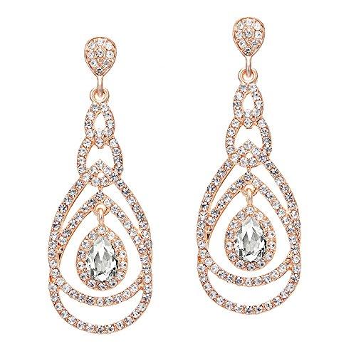 Coucoland 1920s Ohrringe Damen Retro Stil Perlen Dangle Ohrringe Inspiriert von Great Gatsby Damen Kostüm Accessoires (Stil 5-Rose Gold)