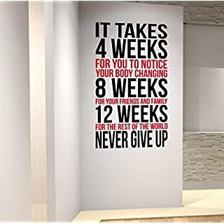 DesignDivil Inspiring Weightloss Wall Decal perfect for Gyms Health & Fitness Centres (red/black, 57cm wide x 1mtr high)