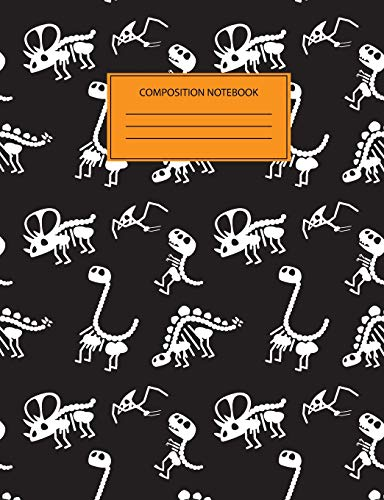 Composition Notebook: Dinosaur Journal For Kids and School - Skeleton Halloween Party Notebook