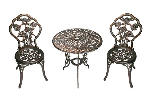 Oakland Living 3-teilig rose Bistro Set mit 57 Aluminiumguss Top Table (Schmiedeeisen Patio Set)
