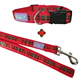 D&C Red Tartan Collar and Lead Set, Choose Size, (Small Collar & Medium Lead)