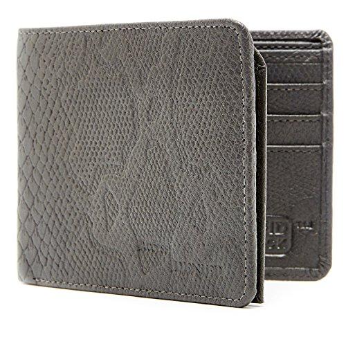 Echtleder Herren Portemonnaie mit Python-geprägtem Leder und 6 Kartenfächern, Python-Grau (Python-leder Herren)