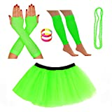 REDSTAR FANCY DRESS Neon Tutu Skirt Leg Warmers Fishnet Gloves Necklace Beads and Neon Wrist Beads (14-22 UK, Green)