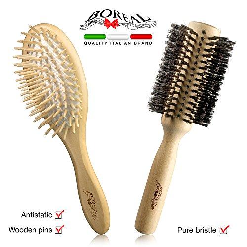 Set spazzole da capelli antistatiche in legno naturale: spazzola pneumatica ovale e rullo in pura setola di cinghiale.