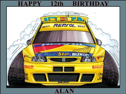 250-seat-ibiza-kit-car-98-yellow-repsol-koolart-0250-personalised-10-x-75-icing-cake-topper-any-name