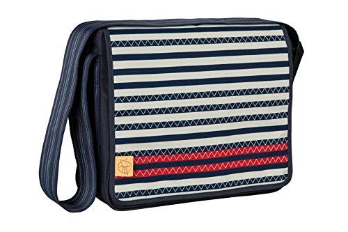 Lässig Casual Messenger Bag Wickeltasche/Babytasche inkl. Wickelzubehör Striped Zigzag, navy