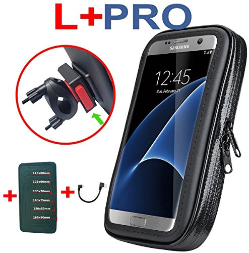 """LK30l Plus Pro Universale für ALLE SMARTPHONES Fahrrad Motorrad Handy Lenkertasche bis ca. 6,0""""/15,24cm Displaygröße + 1- Click Halterung + anpassbare """"Schuma""""-einlage + Micro USB zu USB 2x90° Kabel"""