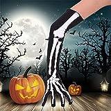 Lang Handschuhe Cosplay Skelett Handschuhe Extra lange Unisex Fünf Finger Handschuhe für Halloween Fasching Karnevall Horror Nights