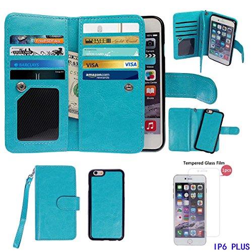 """xhorizon TM FM8 Cuir Premium Folio étui [ la fonction de portefeuille] [magnétique détachable] Sac à main bracelet souple Carte Multiple couvrefente pour iPhone 6 plus(5.5"""") bleu+Film acier"""