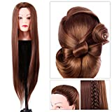 Semme Training Head,Synthetic Fiber Mannequin Head Hairdresser Training Head Cosmetology Doll Head