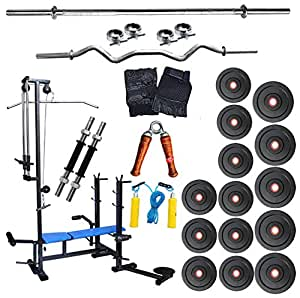 Fit India New Multipurpose 20 in 1 Bench+60kg weight+5ft Plain Rod+3ft Curl Rod+Gym Accessories