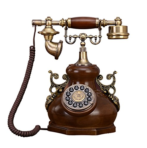 Antique Holz Telefon (MMM- Retro / Antique / Massivholz / Telefon / Key Dialing / Wired Telefon aus Holz und Messing (Größe: 28 * 18 * 36cm) Europäische Kürbis-förmigen Festnetz-Telefon)