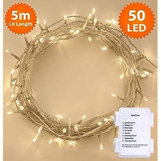 Iluminación navideña, dimmable luces de hadas 100 LED blanco cálido, uso en interiores y al aire libre, control remoto, 10m/32ft de longitud iluminada con cable de cable transparente
