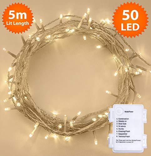 Luci natalizie a batteria per interni e esterno 50 led bianco caldo, 8 modalità con memoria e funzione timer, 5m illuminato lunghezza-cavo trasparente filo