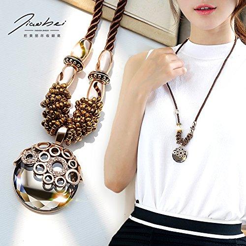 Kau BEI pullover Frauen Lange kleider hängen in südkorea im Sommer und Mode - accessoires - kette runden Spiegel (Hand-spiegel Runde)