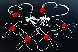 ROMANTISCHE HERZEN Auto Schmuck Braut Paar Rose Deko Dekoration Autoschmuck Hochzeit Car Auto Wedding Deko (Rot Set)