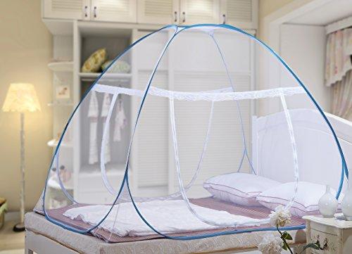 Moustiquaire ciel de lit Pop Up pliable double porte facile à installer avec fond anti Mosquito Bites pour lit Camping Voyage Home extérieur Bleu (King size, 180*200*150 cm)- 2 Ans de Garantie