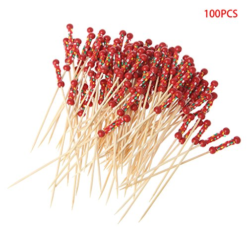 SimpleLife Handgemachte Cocktail Pick 100 stücke Perlen Bambus Cocktail Picks Food Sticks Einweg Zahnstocher Party - Rote Perlen