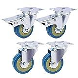 Rziioo 4 X Heavy Duty 75Mm Gummiwirbel Castor Wheel Trolley Möbelrolle (2 Mit Bremsen & 2 Ohne)