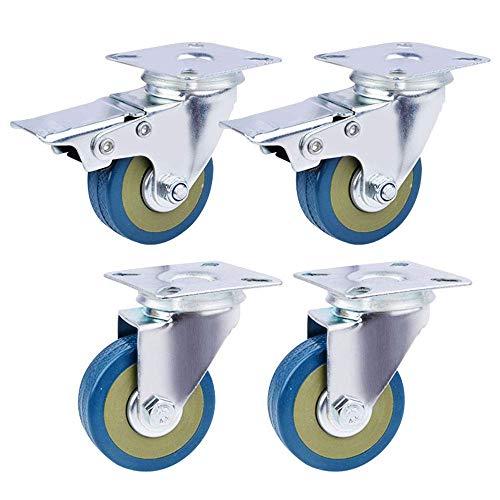 4 stücke Heavy Duty 75mm Gummi Lenkrolle für Trolley Möbelrolle (2 mit Bremsen & 2 ohne)