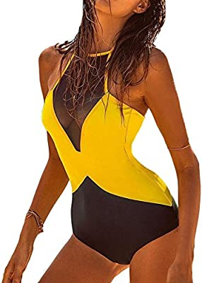 DELEY Mujeres Cuello Alto Encaje Halter Una Sola Pieza Traje De Baño Bikini Monokini Trikini Swimsuit