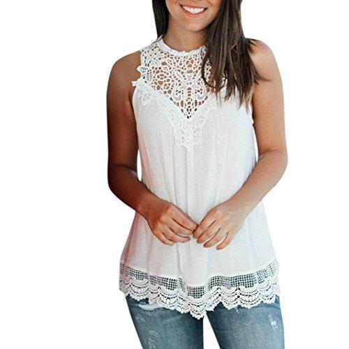 QinMM Camiseta Blusa Encaje sin Mangas para Mujer, Camisa Verano Tops (Blanco,...