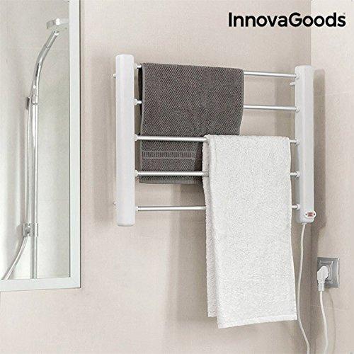 InnovaGoods Toallero Eléctrico de Pared, Aluminio y ABS, Blanco / Gris, 60x43x4 cm