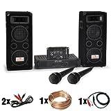 """DJ Set """"DJ-24M"""" impianto audio completo PA (2 Casse diffusori Auna da 600 Watt ciascuna, 1 amplificatore skytec, 1 mixer Ibiza, 2 microfoni dinamici, set cavi per collegamento)"""