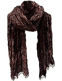 Crushed Crinkle Velvet Scarf Stole Shawl Wrap Wood Bead Fringe Chocolate Brown