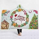 ISAAC ENGLAND Frohe Weihnachten Kranz Lichter Geschenk Baum 3D Gedruckt Plüsch Mit Kapuze Decke für Erwachsene Kind Warme Tragbare Fleece Werfen Blankets-130 * 150 cm