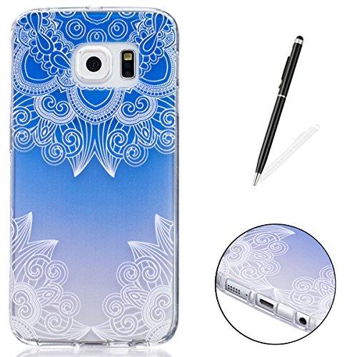 CaseHome Samsung Galaxy S6 Edge Silikon-Gel TPU Ultra Dünner Stilvoller Schöner Eleganter Netter Einzigartiger Prägeartiger Muster-Entwurf (mit freiem Griffel) Weicher Gummi-transparenter TPU Stoßdämp Blaue Steigung-Mandala