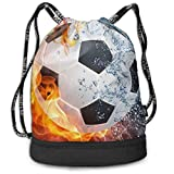 Rucksack mit Kordelzug Fire Flame Ice Water Soccer Football Drawstring Backpack Traveling Gym Gymsack Large Capacity Shoulder Bags, Home Travel Storage Use Gift